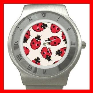 Ladybugs Bugs Insect Stainless Steel Wrist Watch Unisex 089