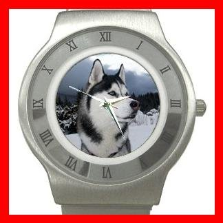 Siberian Husky Dog Animal Stainless Steel Wrist Watch Unisex 091