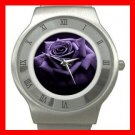 Purple Rose Flowers Stainless Steel Wrist Watch Unisex 092
