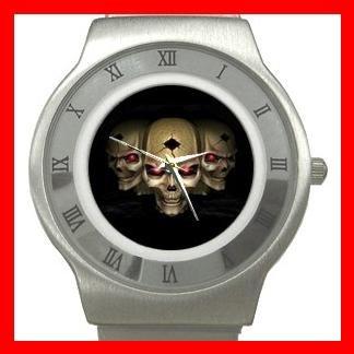 Skull Skeleton Goth Hobby Stainless Steel Wrist Watch Unisex 093
