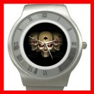Skull Skeleton Goth Hobby Stainless Steel Wrist Watch Unisex 093