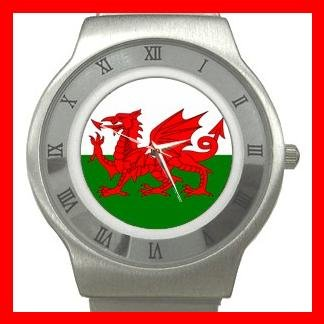 Welsh Wales Flag UK Hobby Stainless Steel Wrist Watch Unisex 098