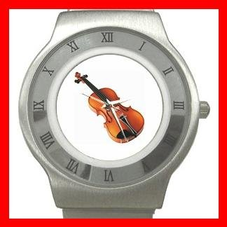 Violin Music Instrument Hobby Stainless Steel Wrist Watch Unisex 105
