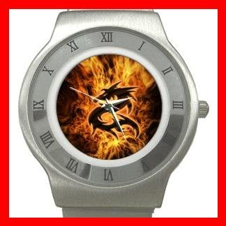 Dragon Fire Flames Fantasy Stainless Steel Wrist Watch Unisex 111