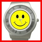 Yellow Smiley Smile Face Stainless Steel Wrist Watch Unisex 121