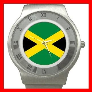 Jamaican Flag Patriotic Stainless Steel Wrist Watch Unisex 124