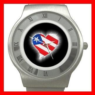 AMERICAN FLAG HEART Patriotic Stainless Steel Wrist Watch Unisex 126