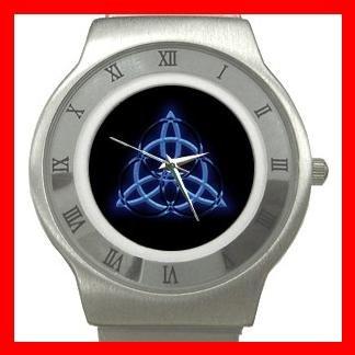 Wicca Pentagram Pagan Blue Stainless Steel Wrist Watch Unisex 131