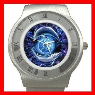 Dolphins Flying Earth Stainless Steel Wrist Watch Unisex 132