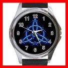 Wicca Pentagram Pagan Blue Metal Wrist Watch Unisex 023