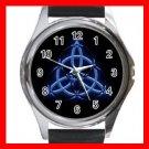 Wicca Pentagram Pagan Blue Metal Wrist Watch Unisex 023