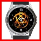 Golden Heartagram Round Metal Wrist Watch Unisex 031
