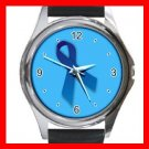 Blue Ribbon Round Metal Wrist Watch Unisex 033