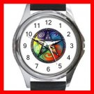 Pentagram Pentacle Rainbow Round Metal Wrist Watch Unisex 037