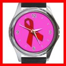 Red Ribbon Round Metal Wrist Watch Unisex 038