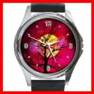 Red Sunset Tree Round Metal Wrist Watch Unisex 040