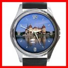 Castle Around Lake White Swan  Round Metal Wrist Watch Unisex 044