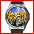Yellow Tulips Flower Blue Sky Round Metal Wrist Watch Unisex 045