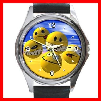 Cool! Always Happy Smiley Round Metal Wrist Watch Unisex 047