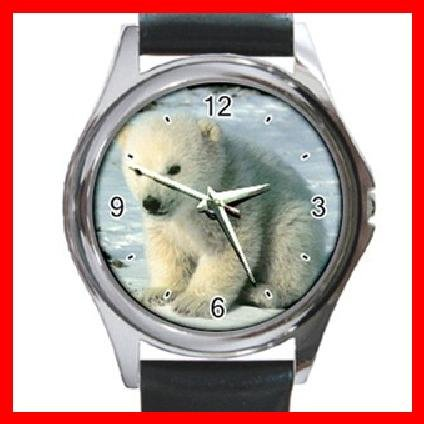 Polar Bear Sitting On Snow Round Metal Wrist Watch Unisex 052