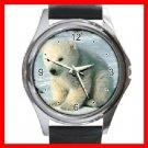 Polar Bear Sitting On Snow Round Metal Wrist Watch Unisex 052