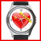 China Heart Love Round Metal Wrist Watch Unisex 053