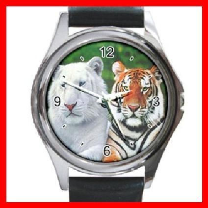 Albino and Bengal Tiger Round Metal Wrist Watch Unisex 055