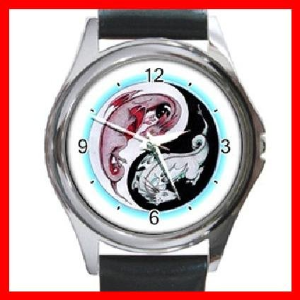 Yin Yang Dragons Myth Round Metal Wrist Watch Unisex 057