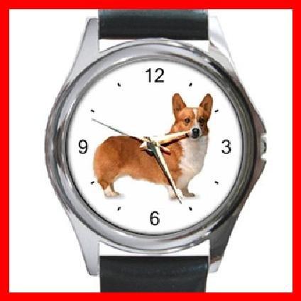 Welsh Corgi Dog Pet Animal Round Metal Wrist Watch Unisex 058