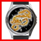 Gold Dragon Myth Hobby Fun Round Metal Wrist Watch Unisex 061