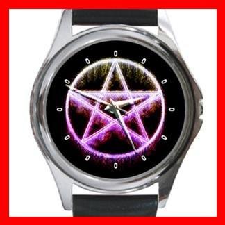 Wicca Pentagram Hobby Fun Round Metal Wrist Watch Unisex 069