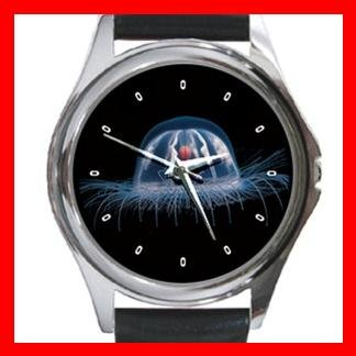 Jellyfish in Sea Round Metal Wrist Watch Unisex 077