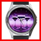 Wine Glass Purple Round Metal Wrist Watch Unisex 086