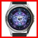 Wicca Pentagram Pentacle Round Metal Wrist Watch Unisex 100