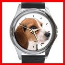Beagle Dog Pet Round Metal Wrist Watch Unisex 105