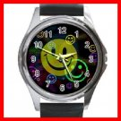 Cute SMILE Face Smiley Round Metal Wrist Watch Unisex 113