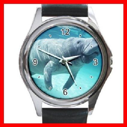 Cool Manatee Sea Water Round Metal Wrist Watch Unisex 121