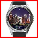 New York City Night Skyline Round Metal Wrist Watch Unisex 126