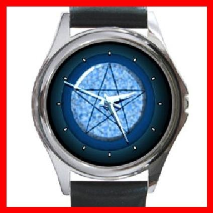 Wicca Pentagram Pentacle Round Metal Wrist Watch Unisex 127