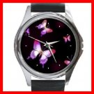 Pink Butterfly Round Metal Wrist Watch Unisex 130