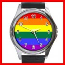 GAY LESBIAN PRIDE FLAG COLOR Round Metal Wrist Watch Unisex 134