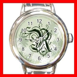"""Green Floral Monogram """"R"""" Round Charm Wrist Watch New!"""
