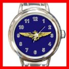 Blue Naval Aviator Wings Heart Charm Wrist Watch Amy