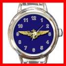 Blue Naval Aviator Wings Heart Charm Wrist Watch Amy