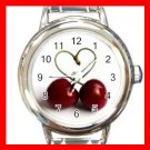 Two Cherrys Heart Round Charm Wrist Watch Fruit New!!!