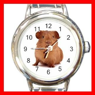 Cute Guinea Pig Round Charm Wrist Watch Animal Fun Gift