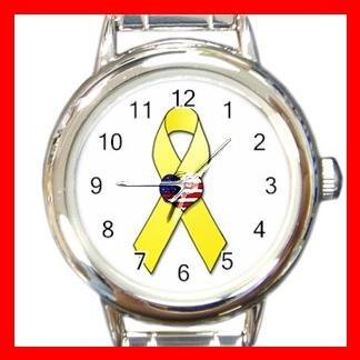 Yellow Ribbon American Flag Round Charm Wrist Watch