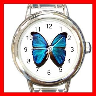 Rare Blue Butterfly Round Charm Wrist Watch Insect Fun
