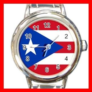 New Puerto Rico Rican Flag Round Italian Charm Watch