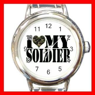 I Love My Soldiers Amy Round Italian Charm Wrist Watch